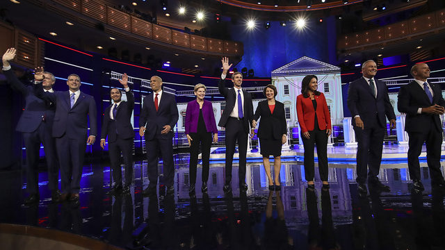 Democrats clash in 2020's opening debate, aiming at President Donald Trump