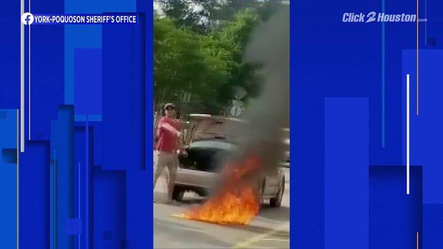 Man burns flag in Walmart parking lot