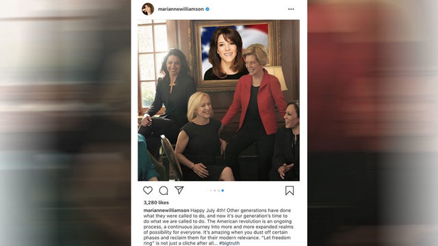 Democratic presidential candidate Marianne Williamson photoshopped…