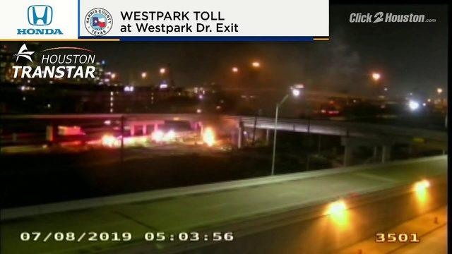 Excavator burns at construction site in southwest Houston