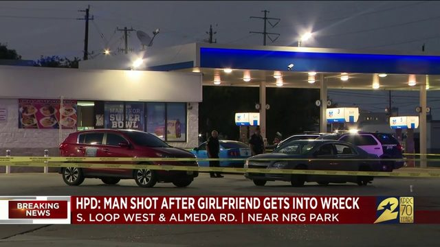 HPD: Man shot after girlfriend gets into wreck