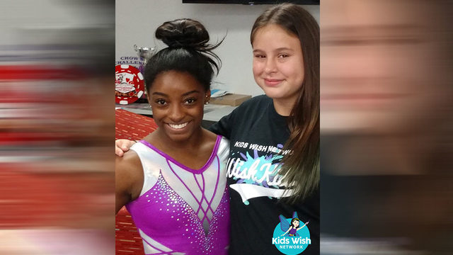 Simone Biles grants wish for Humble girl with life-threatening illness