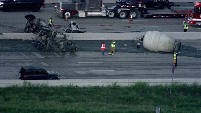 Cement truck overturns on Beltway 8 at Hillcroft