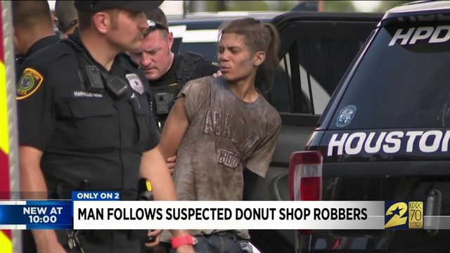 Man follows suspected donut shop robbers