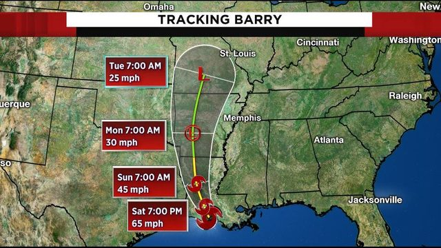 Tracking the tropics: Barry makes landfall in Louisiana, weakens to…