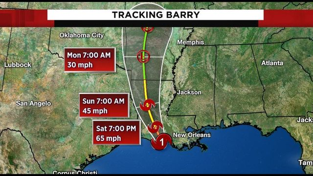 Tracking the tropics: Barry becomes hurricane as it moves onto Louisiana coast