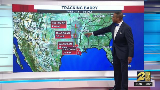 Tracking Barry before landfall