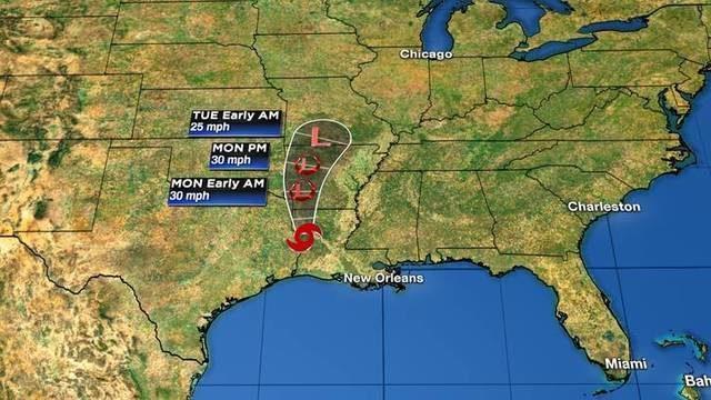 Storm dumping massive amounts of rain on Louisiana