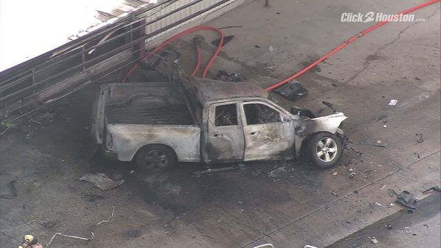 SKY 2 over scene of fiery fatal crash in north Houston