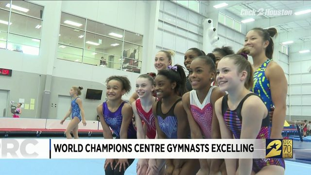 Gymnasts at Simone Biles' home gym excelling