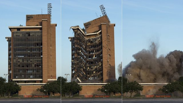 First Pasadena State Bank tower brought down in spectacular implosion