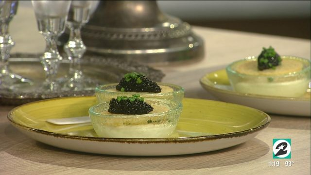Derrick and Courtney sample Caviar Cicchetti from Houston restaurant,…