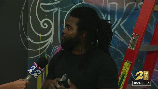 Houston artist paints mural at KPRC 2 to celebrate Tokyo 2020 olympics