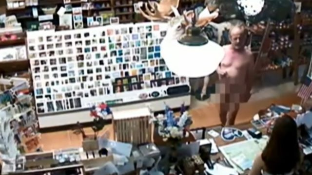 VIDEO: Naked man orders coffee at country store