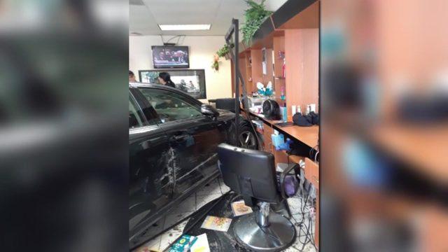 Car goes through beauty salon