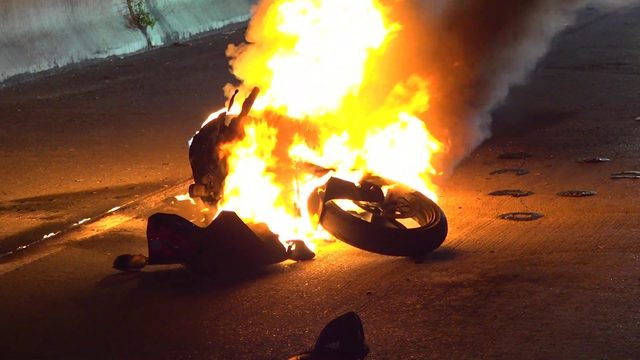 Wheelie ends in flames for Houston motorcyclist
