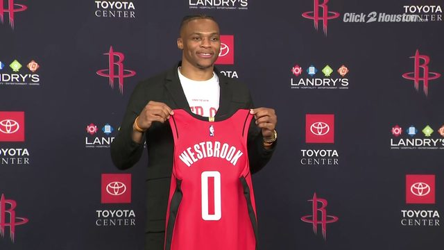 Rockets introduce Russell Westbrook to Houston