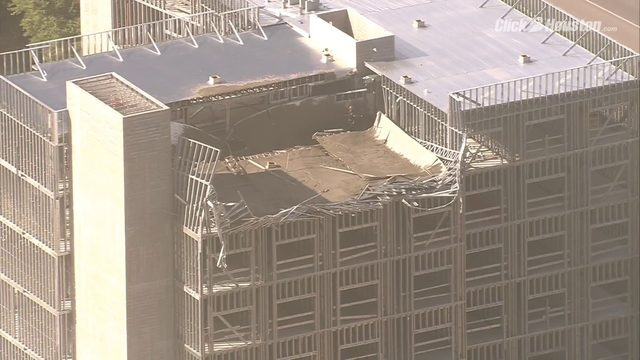SKY2 video of rescues after partial collapse of building near downtown Houston