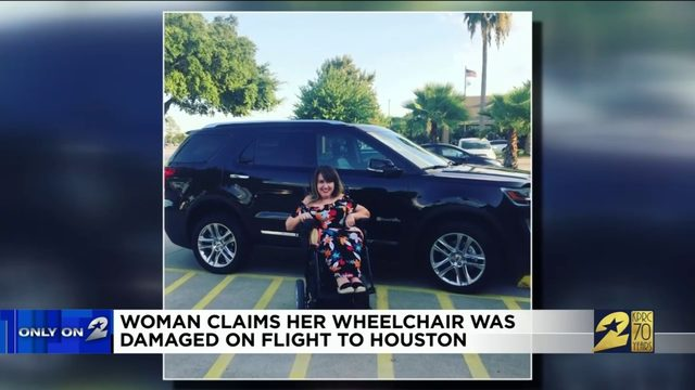 Woman claims her wheelchair was damaged on flight to Houston