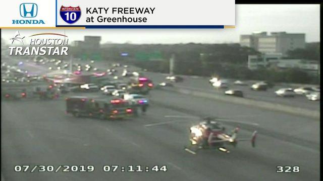 2 children transported via Life Flight after crash on Katy Freeway