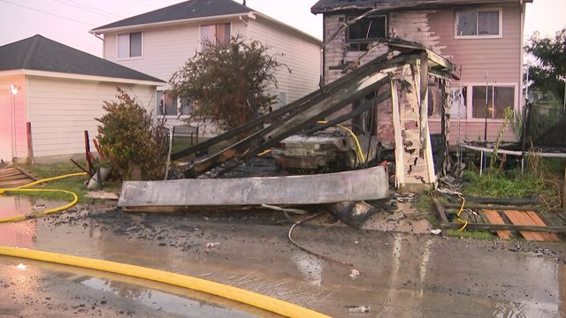 Family of 6 escapes massive house fire, 3 other homes impacted by blaze