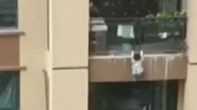 Boy falls six stories onto blanket