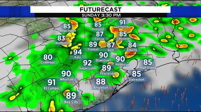 Storms return for Sunday afternoon