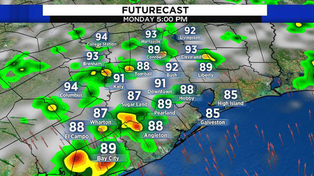 Scattered storms Monday to be followed by near 100-degree heat this week