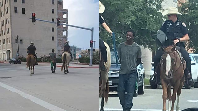 What's going on in these photos? Mounted officers lead handcuffed man…