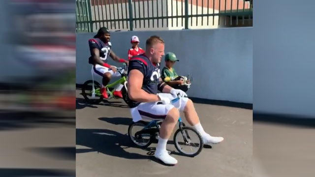 Camp Texans in Green Bay: Watt breaks bike before leaving practice early…