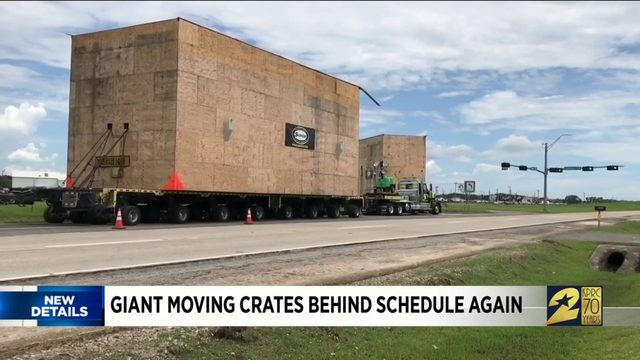 Giant moving crates behind schedule again