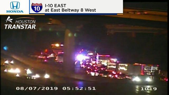 All lanes shut down following 18-wheeler crash on East Freeway