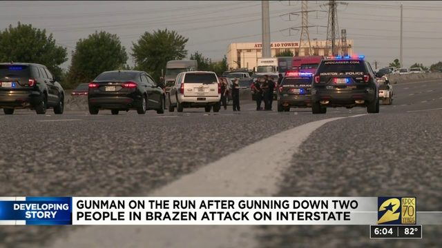 Gunman on the run after shooting two people on East Freeway