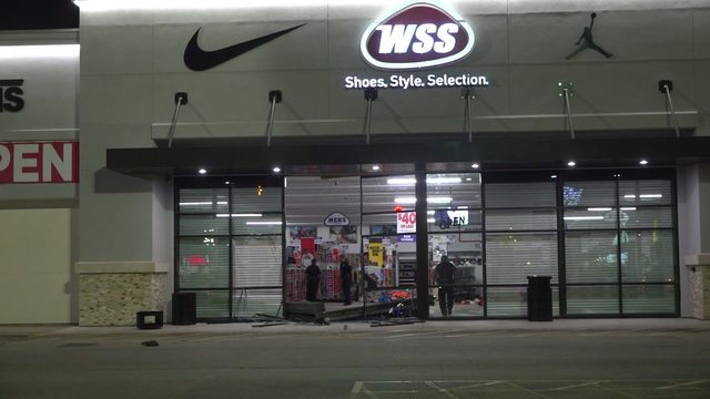 Thieves ram truck into shoe store, make off with dozens of shoes, police say