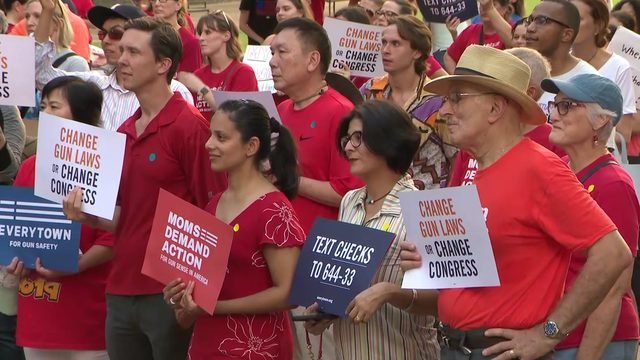 Hundreds fill steps of Houston City Hall to demand change, stricter gun laws