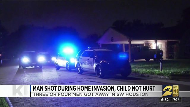 Man shot during home invasion, child not hurt