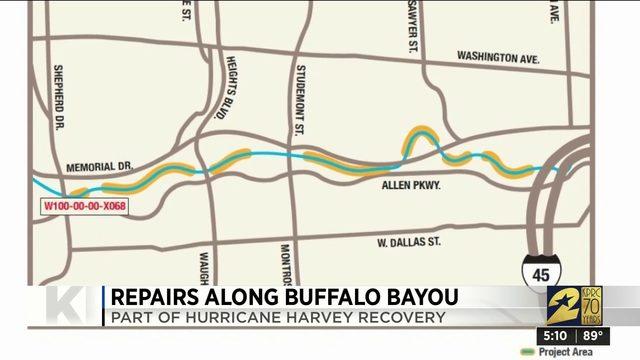 Repairs along Buffalo Bayou