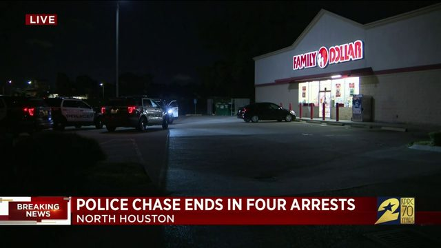 Police chase ends with four arrests