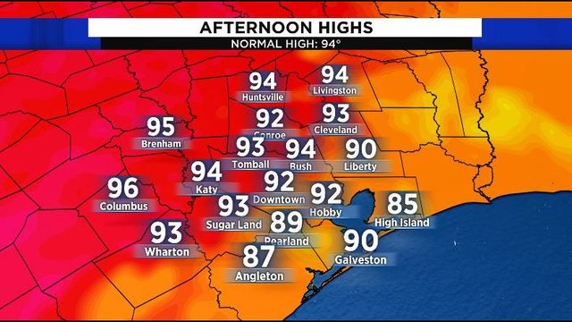 Showers likely on hot Sunday, heat ramps up to start week