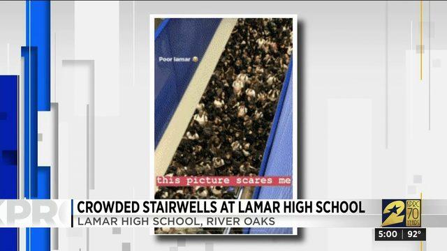 Crowded stairwell at Lamar High School