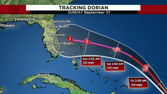 Hurricane Dorian heads for Florida after brushing Caribbean islands