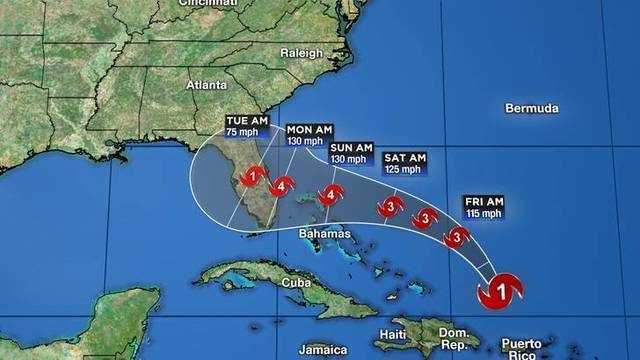 Hurricane Dorian forecast to become Category 4 storm before hitting Florida