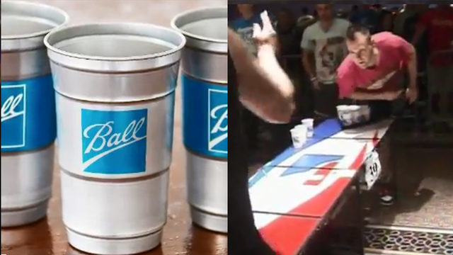 Beer pong waste a thing of the past? Ball launches aluminum cups to cut…