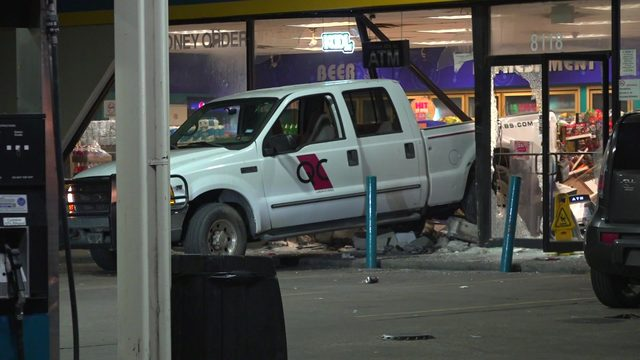 Gas station owner opens fire after would-be robbers plow truck into store