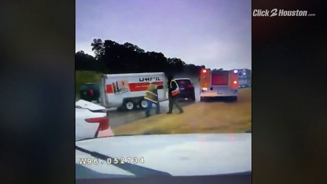 VIDEO: U-Haul slams into firefighters working at a car crash