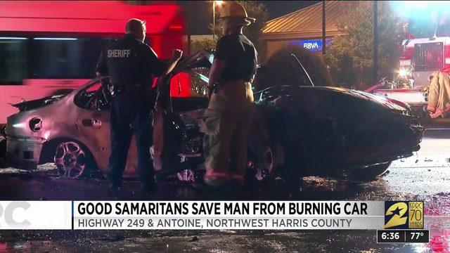 Good Samaritans save man from burning car