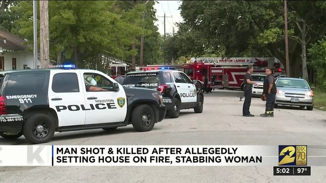 Man shot and killed after allegedly setting house on fire, stabbing woman