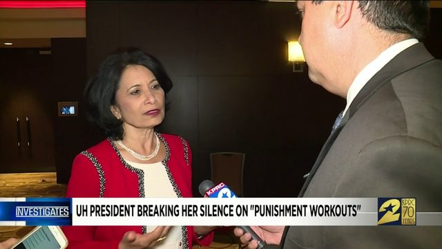 UH president breaking her silence on 'punishment workouts'
