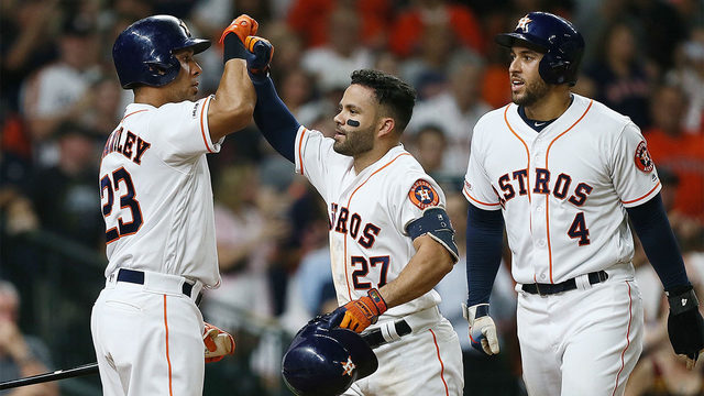 Astros hit MLB-record 6 HRs in 2 innings, beat A's 15-0