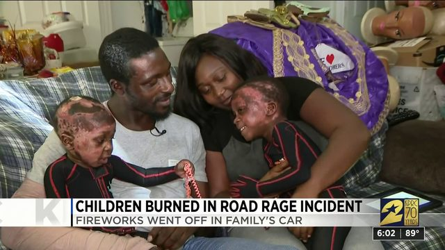 Children burned in road rage incident